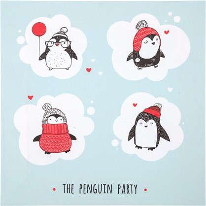 Картина на холсте 30x30 см Пингвины