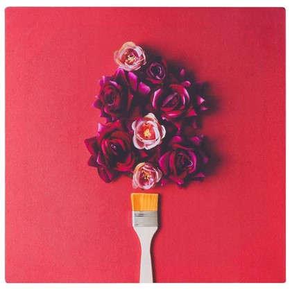 Картина на холсте 40х40 см Розы и кисть