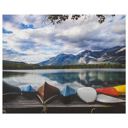 Картина на холсте 40х50 см Лодки у озера