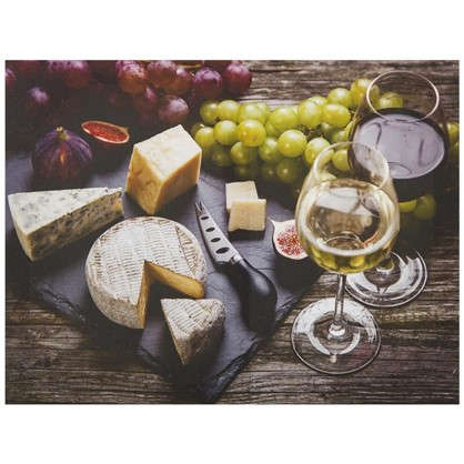 Картина на холсте 40х50 см Сыр и вино