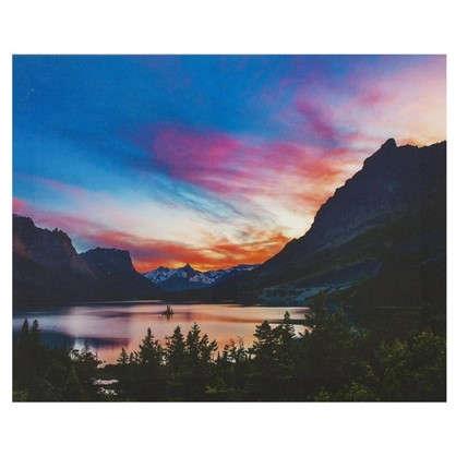 Картина на холсте 40х50 см Закат на озере