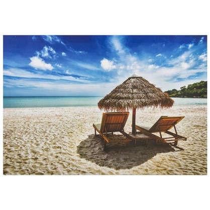 Картина на холсте 50х70 см Зонтик на пляже