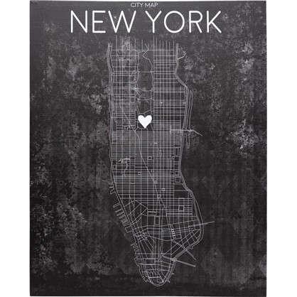 Картина на холсте Карта Нью-Йорка 40х50 см