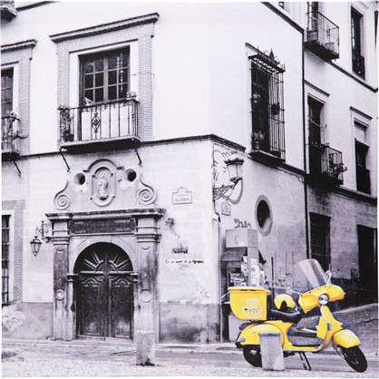 Картина на холсте Желтый мотобайк 30х30 см