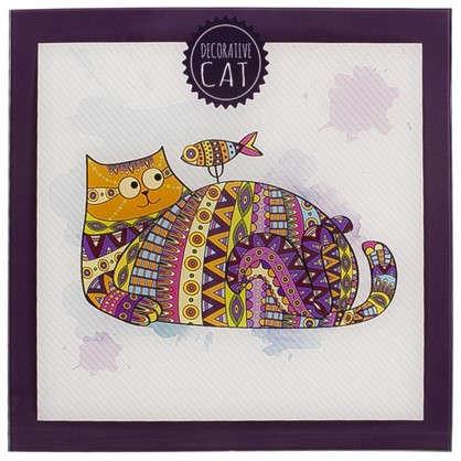 Картина на стекле 30х30 см Кот и рыбка