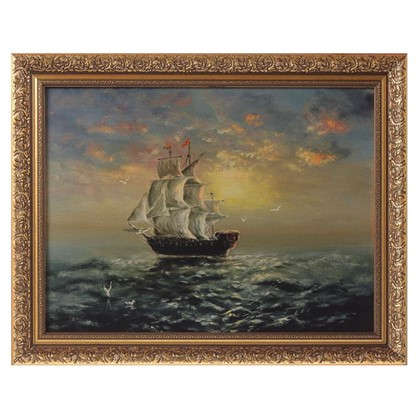 Картина в раме 30x40 см Корабль на закате