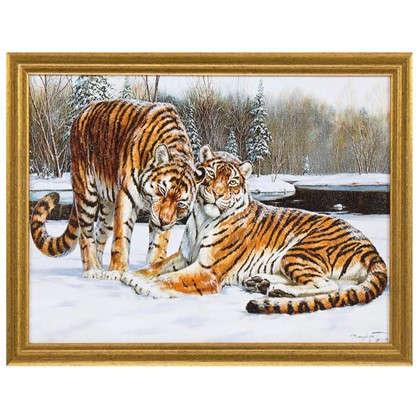 Картина в раме Амурские тигры 30х40 см