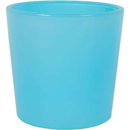 Кашпо 0.6 л 11.5 см стекло цвет голубой