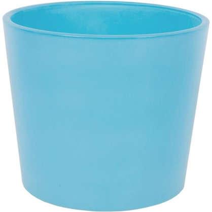 Кашпо 1.1 л 14.5 см стекло цвет голубой