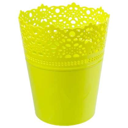 Кашпо Ажур зелёный 150 мм пластик