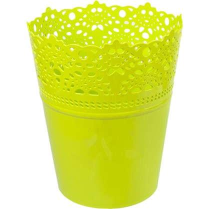 Кашпо Ажур зелёный 185 мм пластик