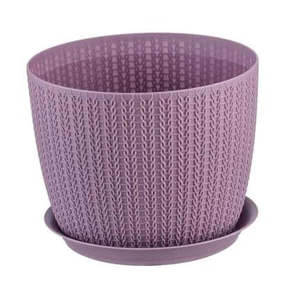 Кашпо с поддоном Вязание 4.5 л 210 мм цвет пурпурный