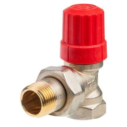 Клапан для радиатора запорный с выносным датчиком угловой для двухтрубной системы отопления 1/2 дюйма