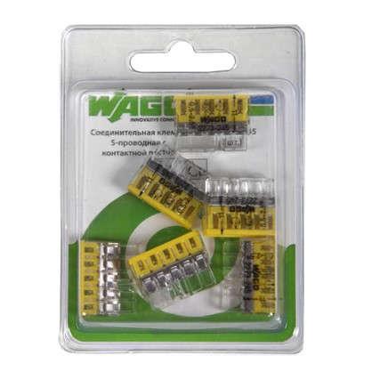 Клемма Wago 5 разъемов под провода с пастой 22х5.8х16.7 мм поликарбонат 6 шт.