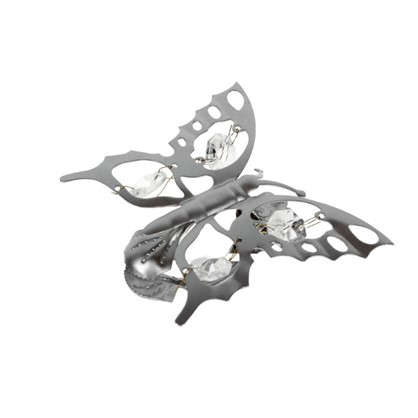 Клипса Бабочка металл цвет хром