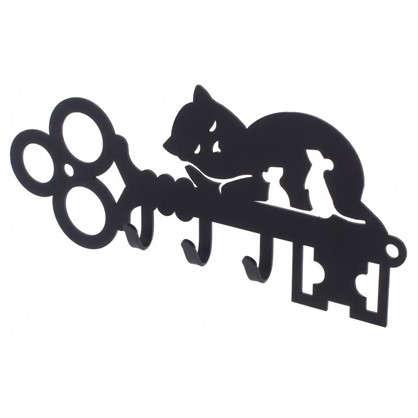 Ключница DuckandDog Кот 190х99х19 мм сталь цвет чёрный матовый