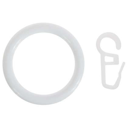 Кольца с крючками  28 мм цвет белый 4 шт.