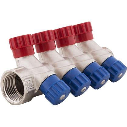 Коллектор с регулирующими вентилями и наружной резьбой Valtec на 4 выхода 1x1/2