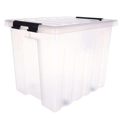 Контейнер Rox Box с крышкой с роликами 39x40x50 см 50 л пластик цвет прозрачный