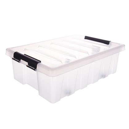 Контейнер Rox Box с крышкой с роликами 40x18x60 см 35 л пластик цвет прозрачный