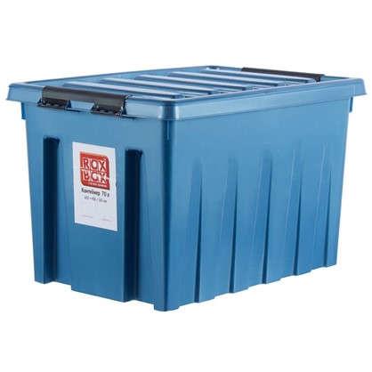 Контейнер Rox Box с крышкой с роликами 40x36x60 см 70 л пластик цвет синий