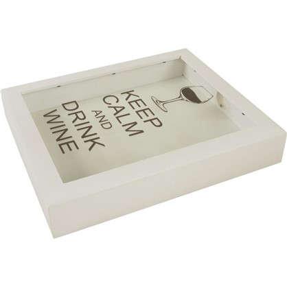 Копилка для пробок Keep calm and Drink wine 22х26 цвет белый