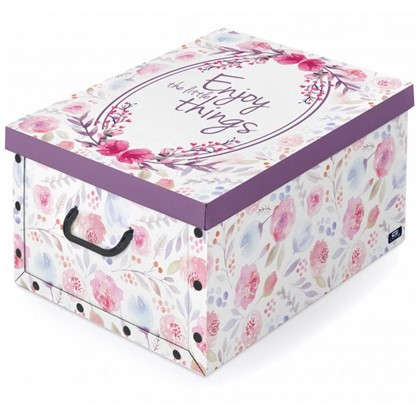 Коробка с ручками Domo Pak Цветы 39х50x24 см картон