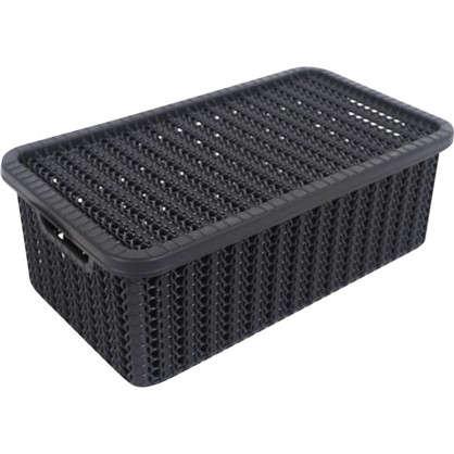 Коробка Вязание 3 л с крышкой цвет графит