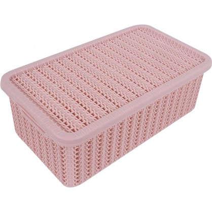 Коробка Вязание 3 л с крышкой цвет роза