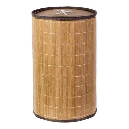 Корзина для белья складная круглая 40 л бамбук