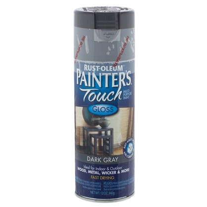 Краска аэрозольная Paint Touch глянцевая цвет темно-серый 340 г