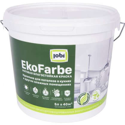 Краска для кухни и ванной Jobi Ekofarbe сталь цвет белый 5 л