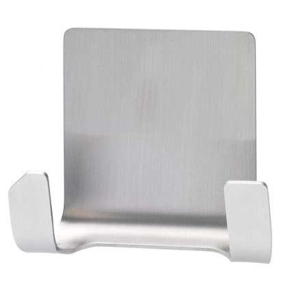 Крючок водостойкий двойной Powerstrips до 3 кг цвет нержавеющая сталь