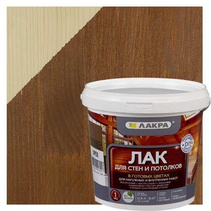 Лак тонированный для стен и потолка Лакра цвет орех 0.9 л