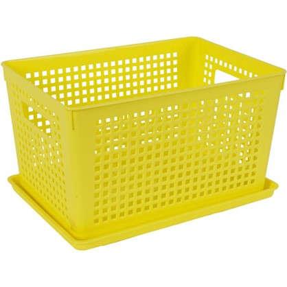 Лоток с крышкой 270х190х150 мм 6 л полипропилен цвет желтый