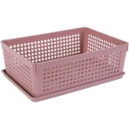 Лоток с крышкой 270х190х90 мм 3.7 л полипропилен цвет розовый