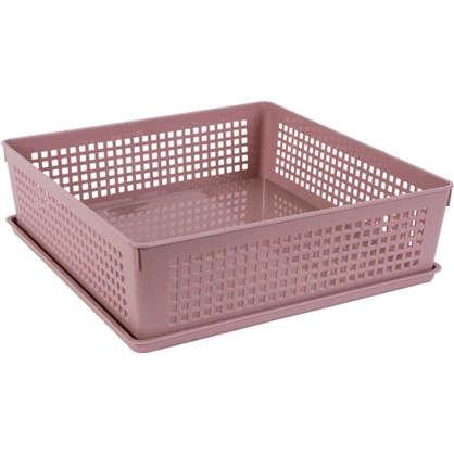 Лоток с крышкой 310х310х90 мм 7.3 л полипропилен цвет розовый