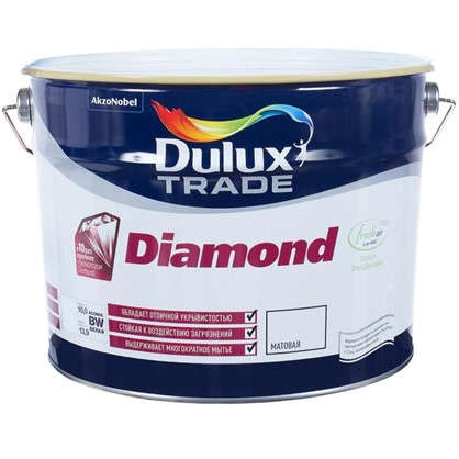 Матовая краска для стен Dulux Trade Diamond 10 л в