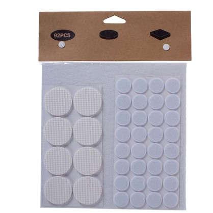 Набор фетровых набоек круглые/квадратные войлок цвет белый 92 шт.