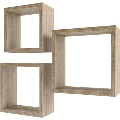 Набор мебельных полок Квадрат 30/27/24 см цвет сонома 3 шт.