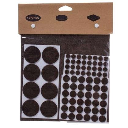 Набор накладок защитных для мебели фетр цвет темно-коричневый 175 шт.