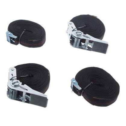 Набор ремней застежка полипропилен цвет черный 4 шт.