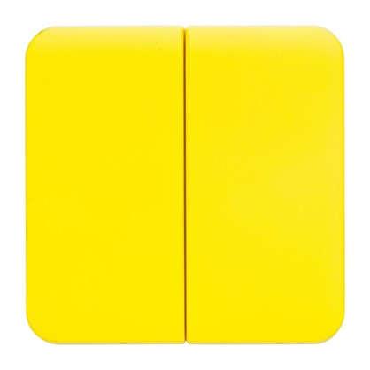 Накладка для выключателя/переключателя Lexman 2 клавиши цвет лимонный