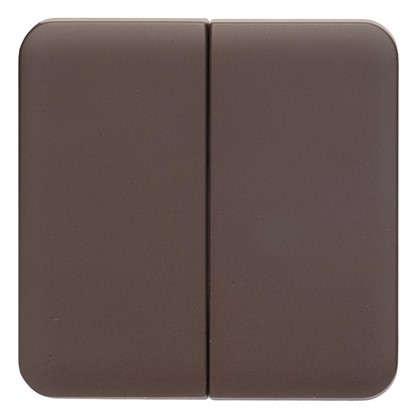 Накладка для выключателя/переключателя Lexman 2 клавиши цвет шоколадный