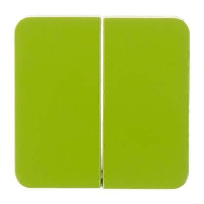 Накладка для выключателя/переключателя Lexman 2 клавиши цвет зелёный