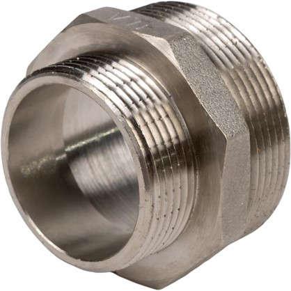 Ниппель переходной Valtec наружная-наружная резьба 1 1/2х2 никелированная латунь