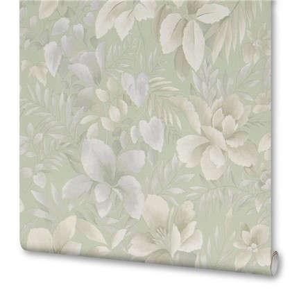 Обои бумажные 0.53х10.05 м цветы цвет зеленый МОФ 236212-4