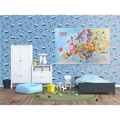 Обои бумажные для детской Корабль 0.53х10 м цвет голубой Вимала 1286