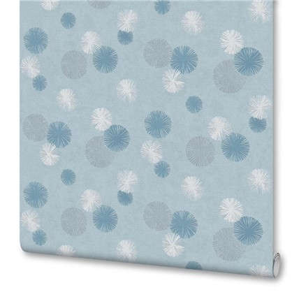 Обои Цветы бумажные цвет синий 0.53х10 м
