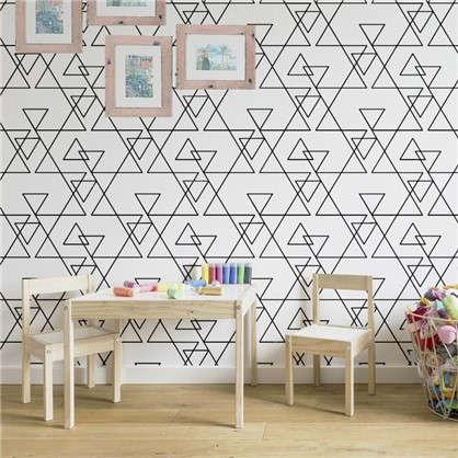 Обои на бумажной основе Треугольник 0.53х10.05 м цвет черно-белый 2
